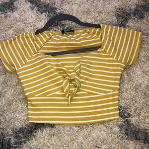 Tops - Striped tie crop top
